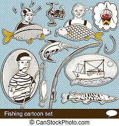 pesca, caricatura, conjunto