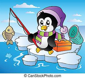 pesca, caricatura, pingüino