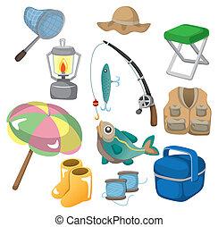 pesca, cartone animato, icone