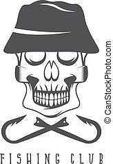 pesca, club, emblema, con, cráneo, en, sombrero de panamá