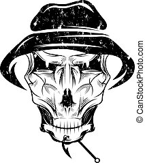 pesca, club, grunge, emblema, con, cráneo, en, sombrero de...