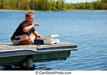 pesca, criança