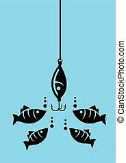 pesca, dall'aspetto, ganci, esca, fish
