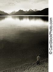 pesca del muchacho, lago mcdonald