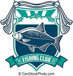 pesca, deporte, club, señal, icono
