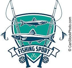 pesca, deporte, club, vector, señal