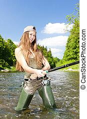 pesca donna, in, fiume, repubblica ceca