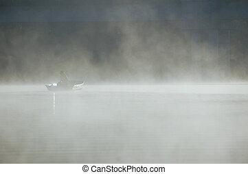 pesca, em, a, nevoeiro