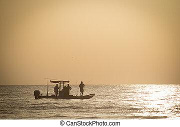 pesca, em, começo matutino
