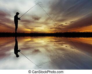 pesca, em, pôr do sol