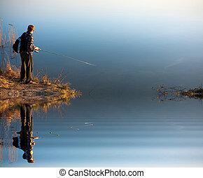 pesca, em, um, lago