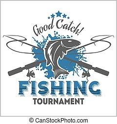 pesca, emblema, insignia, y, diseñe elementos
