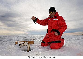pesca, en, hielo