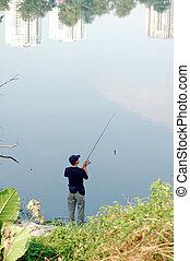pesca, en, la ciudad, parque, 2