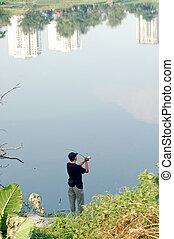 pesca, en, la ciudad, parque