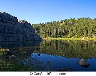 pesca, en, un, vibrante, lago