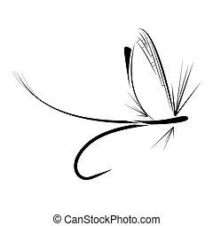 pesca, icono, mosca