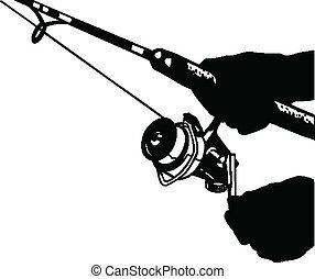 pesca, ilustración, uno