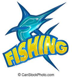 pesca, insignia, con, pez espada, aislado, blanco, plano de fondo,