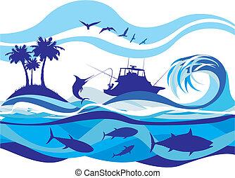 pesca, ligado, a, mares altos