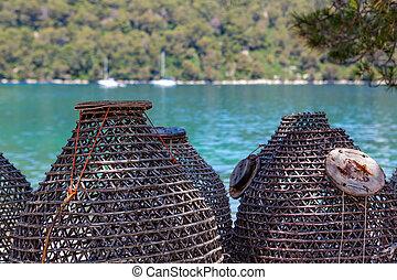pesca, mar, trampas