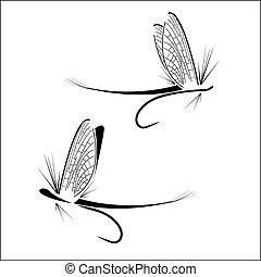 pesca mosca, ícones