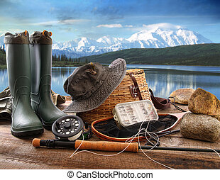 pesca mosca, equipamento, coberta, com, vista, de, um, lago, e, montanhas