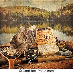 pesca mosca, equipamento, com, vindima, olhar