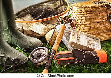 pesca mosca, equipamento, ligado, capim