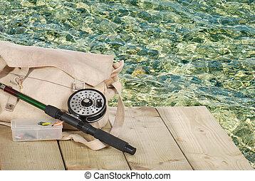 pesca mosca, equipamento, ligado, um, doca