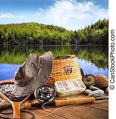 pesca mosca, equipamento, perto, um, lago