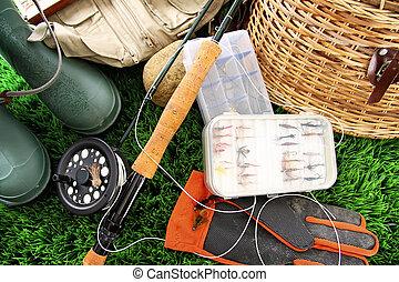 pesca mosca, equipamento, pronto, para, uso