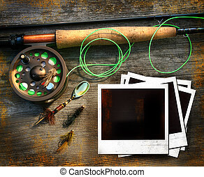 pesca mosca, vara, com, polaroids, quadros, ligado, madeira