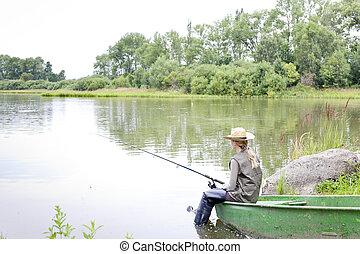 pesca mulher, bote, sentando