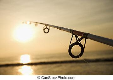 pesca pólo, em, sunset.