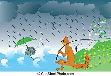 pesca, pioggia