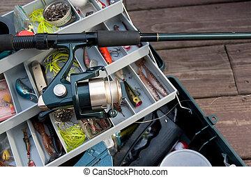 pesca rod, y, caja de los trastos