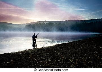 pesca, temprano por la mañana