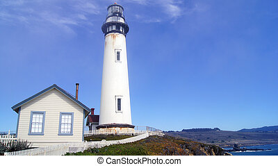 PESCADERO, CALIFORNIA, UNITED STATES - OCT 6, 2014: The Pigeon Point Lighthouse along the Highway No. 1