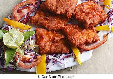 pescado asado, bocado, kebab, hecho