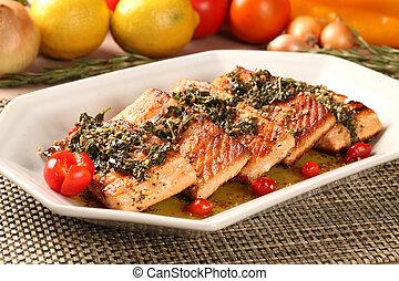 pescado asado, plato., vegetales