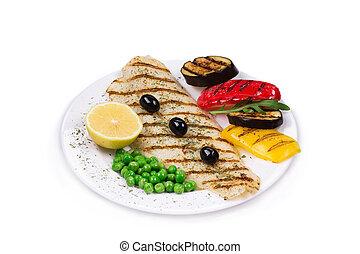 pescado asado, vegetales
