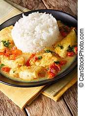pescado, encocado, 或者, fish, 由于, 椰子, 調味汁, 以及, 米, 特寫鏡頭, 上, a,...