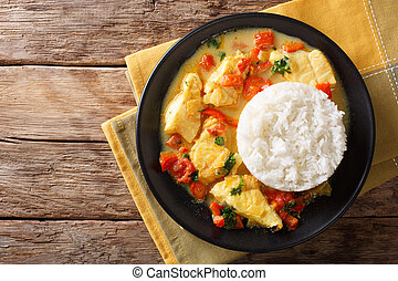 pescado, encocado, 或者, fish, 由于, 椰子, 調味汁, 是, an, ecuadorian,...