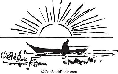 pescador, barco