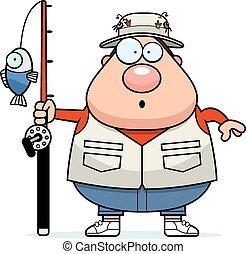 pescador, caricatura, sorprendido