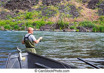 pescador de la mosca, bastidor, en, el, deschutes, río