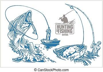 pescador, e, peixe, -, vindima, ilustração