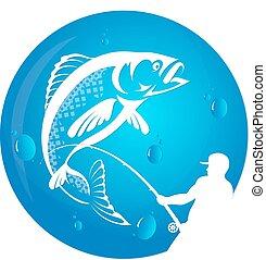 pescador, empates, pez, silueta, vector