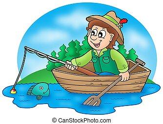 pescador, en, barco, con, árboles